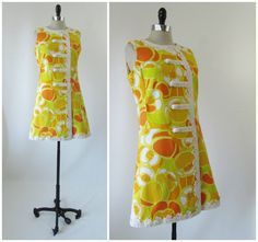 Vintage 1960's The Lilly Pulitzer Dress Signature Mod Floral Shift Yellow Orange | eBay
