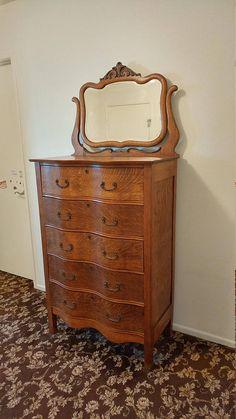 Antique Tiger Oak Serpentine Tall Dresser Highboy With Mirror