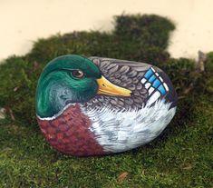 Mallard duck hand painted on rock via Etsy