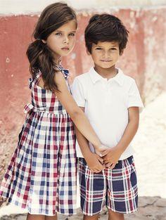 GIRLS CHECKED VBACK DRESS - New Arrivals - Oscar de la Renta