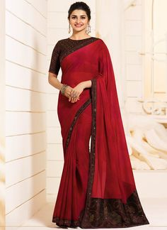 Red and Brown Embroidered Silk Georgette Saree