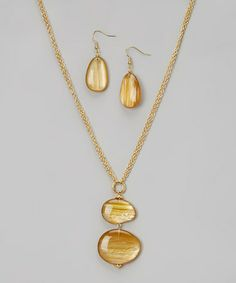 Look what I found on #zulily! Almond & Honey Pendant Necklace & Drop Earrings #zulilyfinds