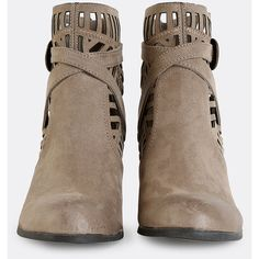 SheIn(sheinside) Tribal Cut Out Suede Boots TAUPE (11.750 HUF) ❤ liked on Polyvore featuring shoes, boots, ankle booties, shein, taupe booties, suede tassel boots, taupe suede boots, taupe suede ankle booties and cut out booties