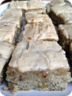Banana Bread Brownies * make in 13x9 pan and use 3 cups confectioners sugar instead of 4. Increase time from 20 to 25 min.