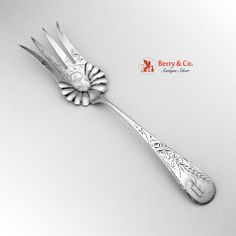 Harvest Wheat Serving Fork Sterling Silver Schulz and Fischer San Francisco 1884
