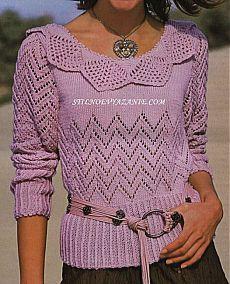 Пуловер,связанный спицами и крючком / Стильное вязание