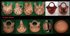 Vasetti a doppio beccuccio, arredo per gli sposalizi, simili a quelli in uso tra i Navajo e i Pueblo. Le ceramiche degli Yuman River venivano prodotte in una sorprendente molteplicità di forme. Il loro utilizzo era molto vario: pentole, brocche, contenitori per le derrate, coppe,….