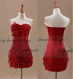 Red prom dressesmini evening dressesflouncing by DreamWeddingShop, $119.99