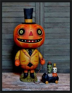 Greg Guedel pumpkin man with pull toy 2015 SOLD through lowryframer.com!