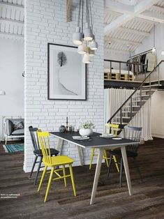 How YELLOW chairs can brighten up white minimalist urban flat