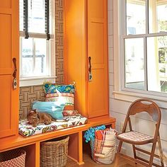 Mudroom < Colorful DIY Kitchen Ideas - Cooking Light - maybe not quite orange but colorful Kitchen On A Budget, Diy Kitchen, Kitchen Ideas, Kitchen Reno, Kitchen Inspiration, Laundry Room Colors, Diy Wallpaper, Modern Farmhouse Kitchens, Mudroom
