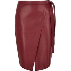 River Island Red leather-look wrap midi skirt ($41) ❤ liked on Polyvore featuring skirts, red, river island, red knee length skirt, imitation leather skirt, vegan leather skirt and wrap skirt
