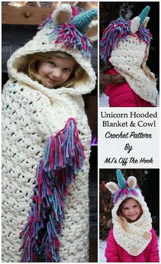 This is a PDF crochet pattern for a Bulky & Quick Unicorn Blanket! Pattern also includes a Hooded Unicorn Cowl in toddler-adult size. Crochet Unicorn Blanket, Crochet Blanket Patterns, Crochet Stitches, Cowl Patterns, Crochet Blankets, Stitch Patterns, Knitting Patterns, Crochet For Kids, Crochet Baby