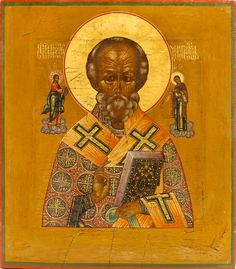 Detailed view: C065. Saint Nicholas the Wonderworker- exhibited at the Temple Gallery, specialists in Russian icons