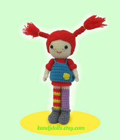 Pippi Longstocking crochet pattern by K and J Dolls, via Flickr....I must make this! Amigurumi Doll, Amigurumi Patterns, Crochet Patterns, Crochet Cross, Knit Crochet, Crafts For Kids, Arts And Crafts, Pippi Longstocking, Nerd Crafts