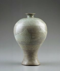 Celadon Glazed Plum-Blossom Vase (maebyeong) with Stamped Fish - Korean, Joseon dynasty, early 15th century.