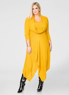 Solid Oversized Cowl Sweater Dress-Plus Size Sweater Dresses-Ashley Stewart Funny Fashion, Xl Fashion, Plus Size Fashion, Plus Size Sweater Dress, Plus Size Sweaters, Sweater Dresses, Plus Size Dresses, Plus Size Outfits, Fashionable Plus Size Clothing
