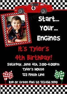 Boy Birthday Invitations Red Race Car Chalkboard Birthday Party - Hot wheels birthday invitation how to make