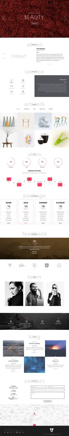 'Versa' is a long scrolling One Page HTML template with 12 intro variations. Features include sticky header navigation, text animations, big slideshow, portfolio section with Lightbox images, testimonial slider, Google Map integration and a contact form. Nice to know the portfolio comes with a category filter as well as a slick Masonry layout option.