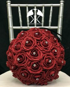 RED Flower Ball with BLING RHINESTONE GEMS. 12 Flower Ball is pictured with Rhinestone Gems.  RED Flower Ball made with PREMIUM Real Touch Roses. Add Bling Rhinestone Gems in roses or Pearl Brooches between the roses to add a little more bling to your special day! You will be amazed at how real and Red Flower Girl, Flower Girl Bouquet, Red Flowers, Dusty Rose Wedding, Aqua Wedding, Rustic Wedding, Luxury Wedding, Red Corsages, Blue Corsage