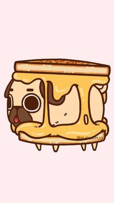 Animals, cute baby, and drawing image Cute Kawaii Drawings, Kawaii Doodles, Kawaii Art, Pug Pictures, Cute Animal Pictures, Pug Wallpaper, Dog Emoji, Pug Cartoon, Animal Hugs