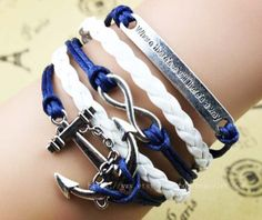 Infinity Bracelet Anchor Bracelet Motto Bracelet by braceletshow, $4.99