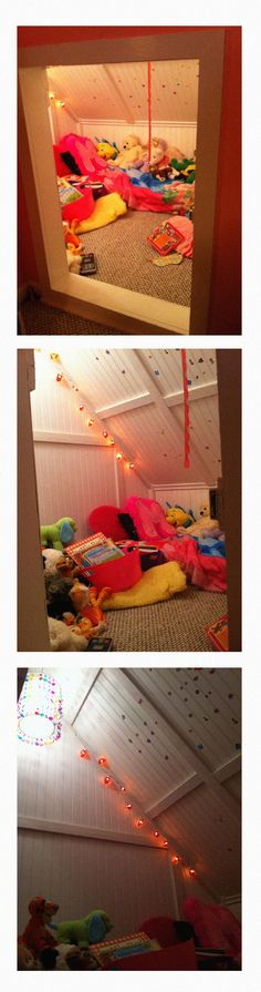 Turned an old attic space in daughters room into a reading nook/playhouse - complete with heart lights and a pendant chandelier