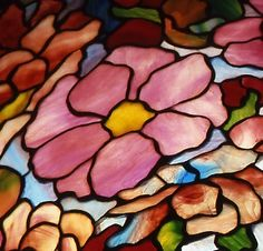 Tiffany Studios | Peony Hanging Shade (detail), ca. 1906 | Leaded glass | The Neustadt Collection of Tiffany Glass