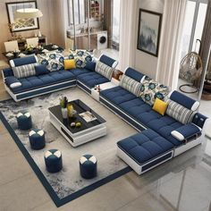 Luxury Modern U Shaped Leather Fabric Corner Sectional Sofa Set Design Couches For Living Room With Ottoman Corner Sofa Design, Living Room Sofa Design, Living Room Furniture Arrangement, Home Room Design, Living Room Designs, Living Room Decor, Corner Sofa Living Room, Living Room Seating, Wooden Dining Table Designs