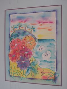Watercolor and pastel beach painting...