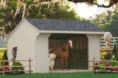 Buy an Equine Shelters for a discounted price. One and Two Story Horse Barns for Shelter, Run-Ins and Hay Storage. Buy a portable horse barn run-in direct. Horse Shed, Horse Stalls, Horse Training Tips, Horse Tips, Simple Horse Barns, Goat Shed, Tortoise House, Equestrian Stables, Horse Shelter