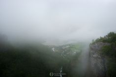 Foggy view from the famous geirangerfjorden overlook