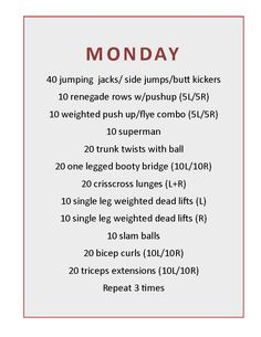 Monday boot-camp routine