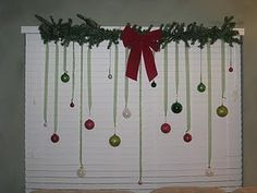 Tension rod with hanging ornaments.