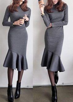 Trend To Wear: Grey Long Sleeve Round Neck Mermaid Midi Dress