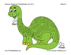 A printable PDF file with 10 dinosaur-themed mazes, one per page. Free to download and print