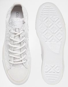 c984db000a13 Enlarge Converse All Star White Reptile Print Ox Trainers Weiße Turnschuhe
