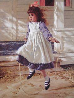 Jim daly/art | Jim Daly Skipping Rope Pretty Little Girl Ed Print | eBay