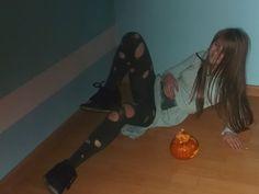 Smile Mereine and pumpkin on the floor