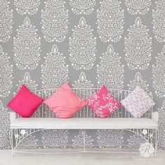 Garden Damask Allover Wall Stencil For Wallpaper Look. PointesChambresPochoirs  Muraux Pour La PeintureDamas ...