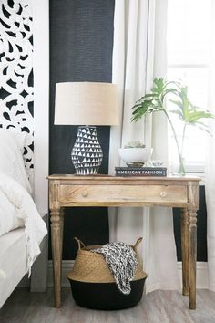 Relaxed bedside table with a printed lamp