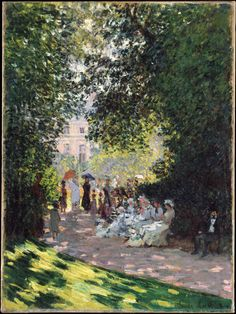 'The Parc Monceau,' Claude Monet, French, oil on canvas; Metropolitan Museum of Art, New York. Monet painted six views of the Parc Monceau: three in 1876 and three in Claude Monet, Henri Matisse, Monet Paintings, Landscape Paintings, Artist Monet, Camille Pissarro, Impressionist Paintings, Renoir, Wassily Kandinsky