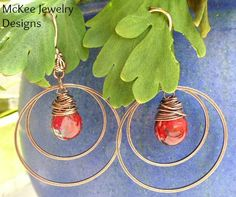 Red Teardrop Czech Picasso glass and Copper hoop earrings. McKee Jewelry Designs