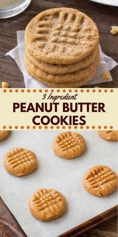 easy cookies These 3 ingredient peanut butter cookies are soft, chewy amp; filled with big peanut butter flavor. They taste just as delicious as classic peanut butter cookies - only they take way less effort to make. Classic Peanut Butter Cookies, Flourless Peanut Butter Cookies, Chocolate Cookie Recipes, Sugar Free Peanut Butter Cookies, Desserts With Peanut Butter, Flourless Desserts, Cookies With No Butter, Cookie Recipes Without Butter, Flourless Oatmeal Cookies