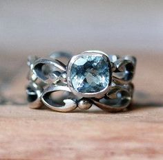 Silver aquamarine ring. This is possibly one of the most beautiful rings I have ever seen <3