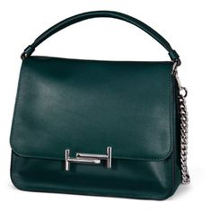 Tod's - Tod's Medium Double T Crossbody Bag (45,770 MXN) ❤ liked on Polyvore featuring bags, handbags, shoulder bags, green, crossbody purses, blue crossbody, chain crossbody, green handbags and vintage shoulder bag