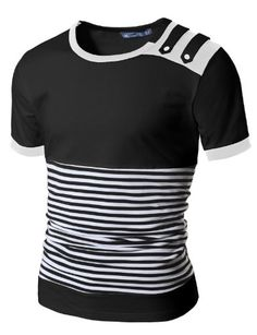 Doublju Mens Stripe T-shirts with Shoulder Strap BLACK (US-S) Doublju http://smile.amazon.com/dp/B007R9ZKMA/ref=cm_sw_r_pi_dp_Mr46tb17PZ157