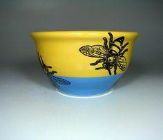 medium bowl honeybee (honey mustard/dodger blue) - Made to Order. $60.00, via Etsy.