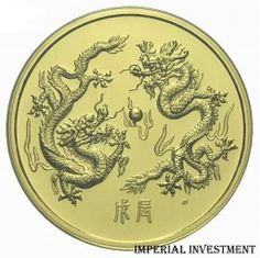 SINGAPORE GOLD COIN -  Year of the Dragon 1988 5 OZ GOLD COIN