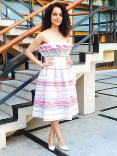 Kangana Ranaut was wearing #PLAKINGER Spring Summer 2015 multicolored stripes dress at a press event in Delhi India. See the official pictures on Kangana Ranut`s website here http://www.officialkanganaranaut.com/Events.html. The strapless dress is available here https://www.runway2street.com/…/dress…/strapless-tweed-dress. The look was styled by Ami Patel. #byplakinger.com